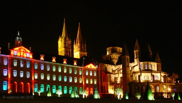 caen town hall men's abbey by night
